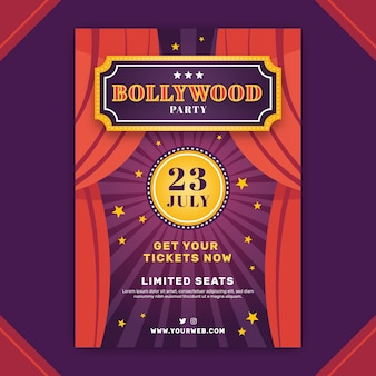 Bollywood party poster template with stage curtain