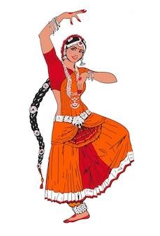 ボリウッドスター。踊っている女の子。インド舞踊。東洋の女の子が踊る。赤い東洋のドレスの女の子。インド舞踊、動き、映画。