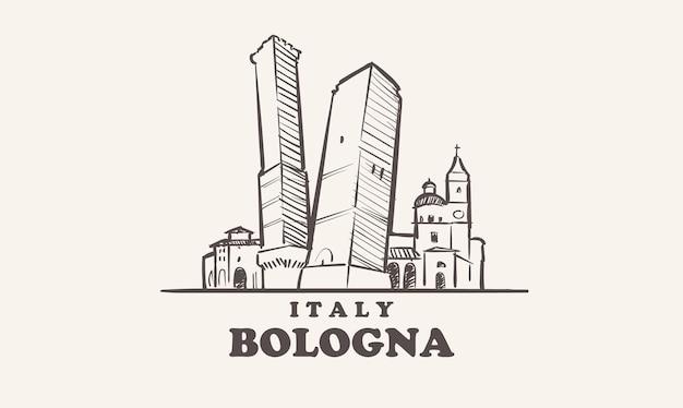 볼로냐 도시 풍경 스케치 손으로 그린 이탈리아 그림