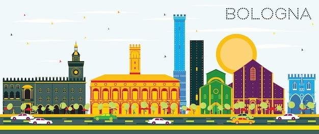 컬러 랜드마크와 푸른 하늘이 있는 볼로냐 스카이라인. 벡터 일러스트 레이 션. 역사적인 건물과 비즈니스 여행 및 관광 개념입니다. 프레젠테이션 배너 현수막 및 웹사이트용 이미지.
