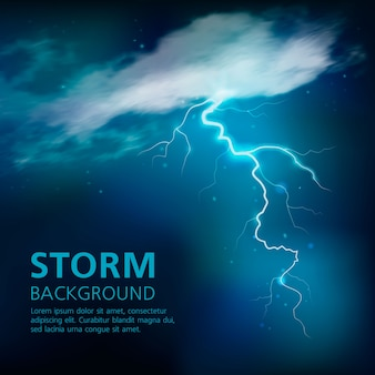 Bolt of lightning in blue color with illuminated half transparent clouds in night sky vector illustration