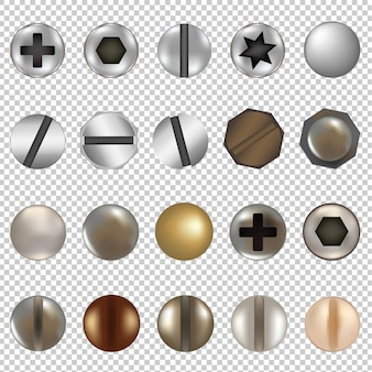 Bolts and screws big set isolated illustration