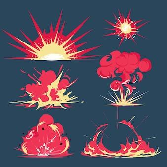 폭탄 폭발 만화 스타일 - 벡터