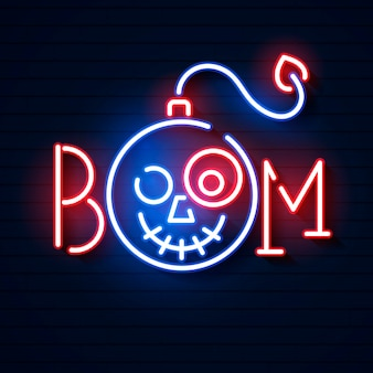 Bomb blue glowing neon icon