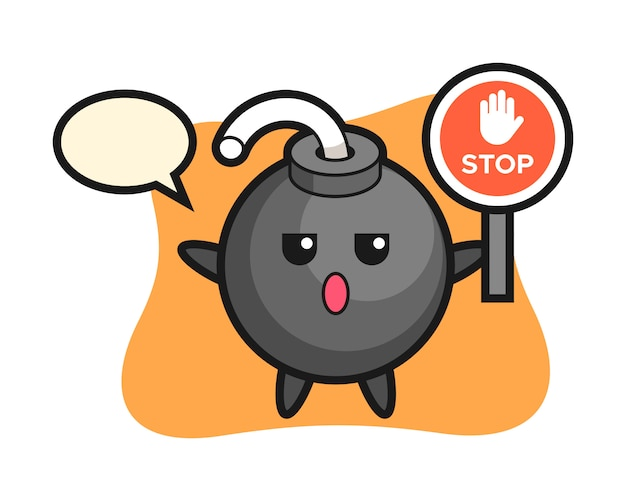 Bomb character illustration holding a stop sign