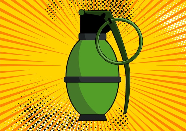 Bomb on comic pop art retro style background. bomb at background with dots halftone and sunburst.