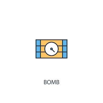폭탄 개념 2 컬러 라인 아이콘입니다. 간단한 노란색과 파란색 요소 그림입니다. 폭탄 개념 개요 기호 디자인