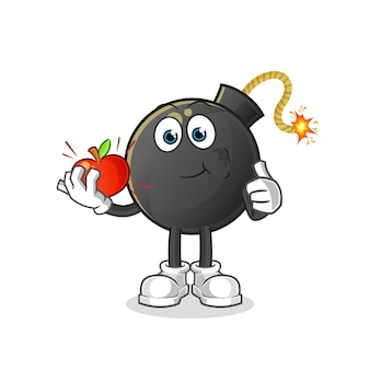 Bomb eating an apple illustration. character