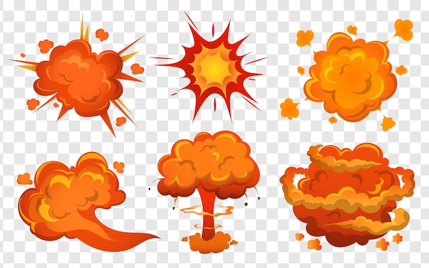폭탄 폭발 및 화재 쾅 폭탄 폭발 만화 세트