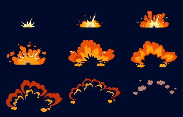 Bomb explosion icon set step-by-step animation with boom effect on black