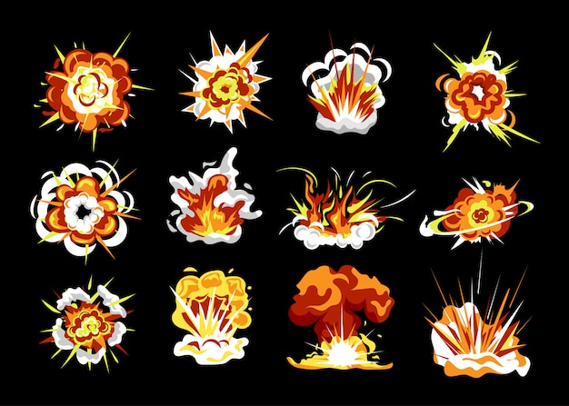 Набор взрыва бомбы. изолированный мультфильм взрыва огня пламя с плоской коллекцией облака дыма. энергия взрыва бомбы. комикс эффект бум векторные иллюстрации