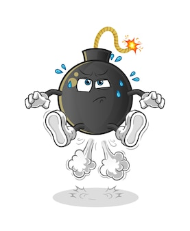 Bomb fart jumping illustration. character