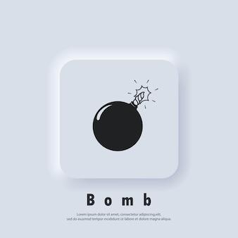 Bomb icon. bomb logo. vector. ui icon. neumorphic ui ux white user interface web button.