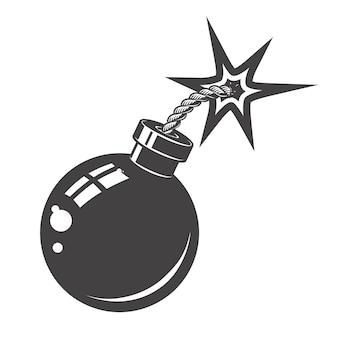 白い背景の上の爆弾のアイコン。ロゴ、アルベル、エンブレム、記号の要素。図。