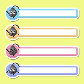 폭탄 라벨 이름표 귀여운 캐릭터 마스코트