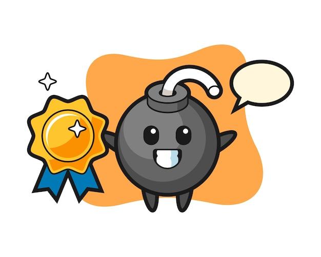 Bomb mascot illustration holding a golden badge