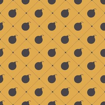 シンプルな背景の爆弾パターン。クリエイティブでミリタリースタイルのイラスト
