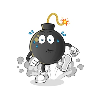 Bomb running illustration. character