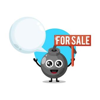 Bomb for sale cute character mascot