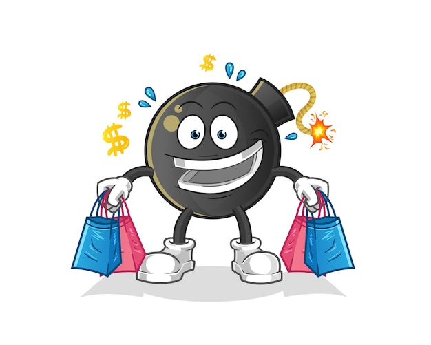 Bomb shoping mascot. cartoon