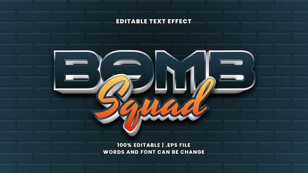 Bomb squad editable text effect in modern 3d style