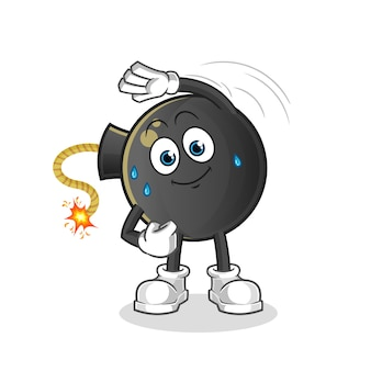 Bomb stretching character. cartoon mascot