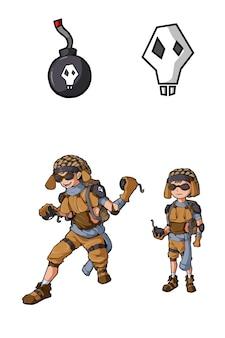 爆撃機の少年キャラクターゲームデザイン