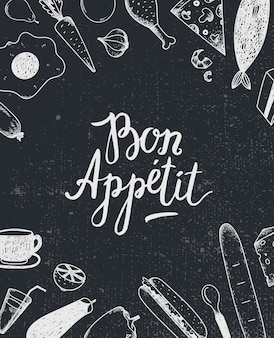 Bon appetit graphic poster with food illustrations, menu cover, food banner. black and white. blackboard