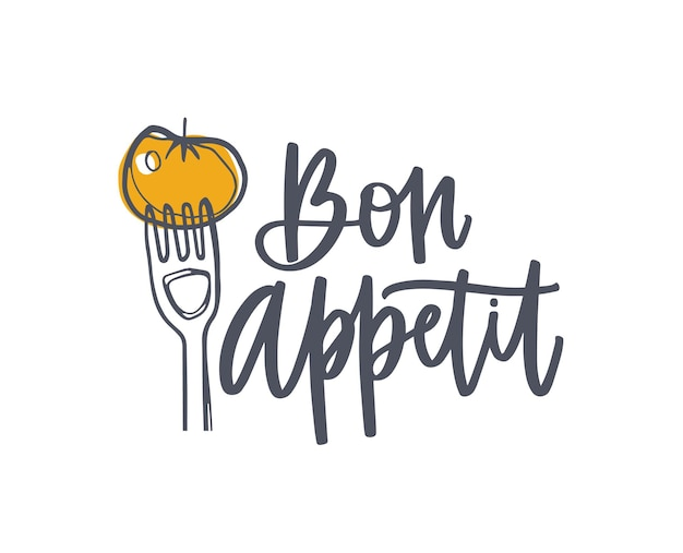 Bon appetit phrase handwritten with cursive calligraphic font and decorated by tomato on fork. elegant lettering and food isolated on white background. hand drawn realistic vector illustration.