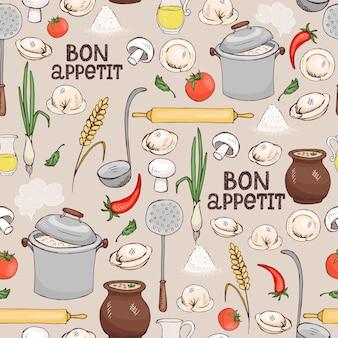 Bon appetitのシームレスな背景パターンに、壁紙の包装紙や布地に適した正方形のフォーマットのイタリアのラビオリパスタを作るための材料と台所用品が散らばっています