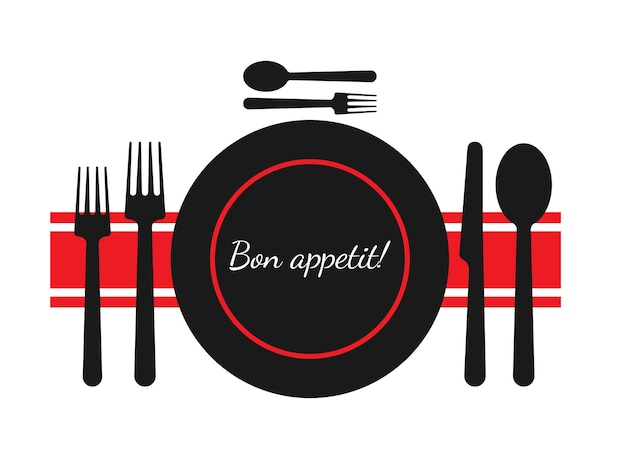 Bon appetit. a set of dishes for a meal. vector illustration.