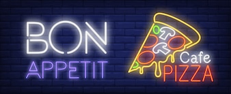 Bon appetite Cafe pizza neon sign. Pizza slice with melted cheese on dark blue brick wall.