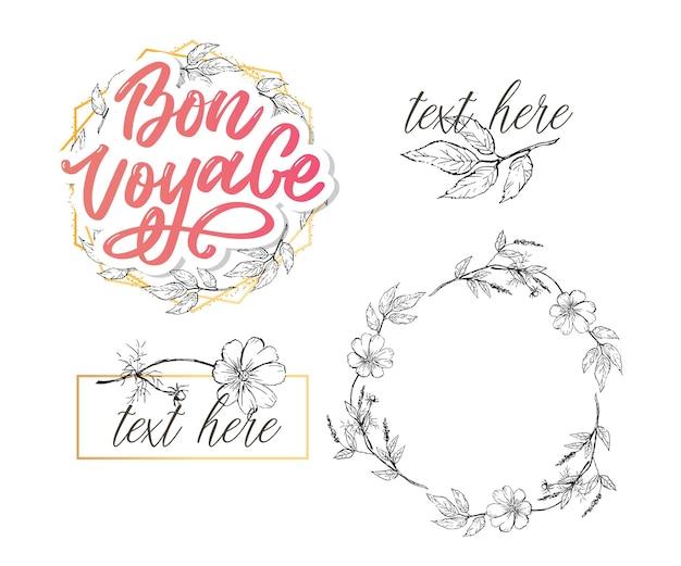 Bon voyage hand lettering и цветочный венок