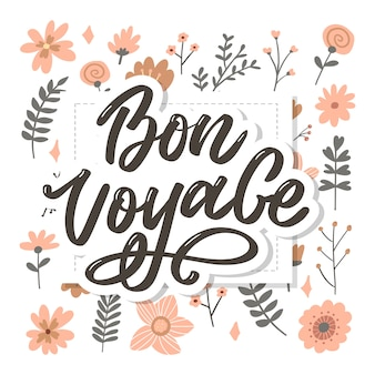 Bon voyage hand lettering calligraphy