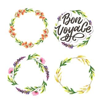 Bon voyage hand lettering  and floral frame set