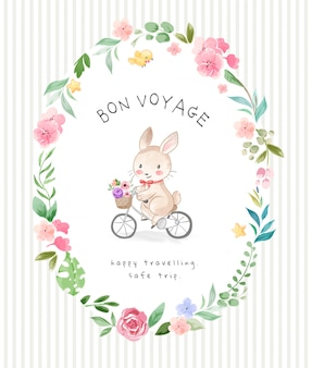 Bon voyage slogan with cute rabbit riding bicycle in flowers frame illustration