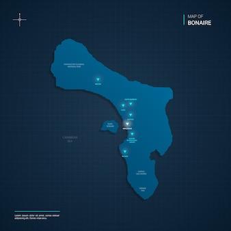 블루 네온 라이트 포인트가있는 보네르지도
