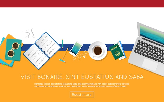 Посетите концепцию bonaire, sint eustatius и saba для своего веб-баннера