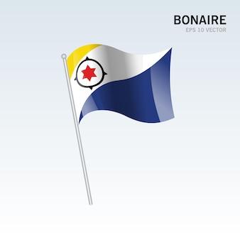 Bonaire waving flag isolated on gray