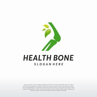 뼈 관리 로고, 건강 뼈 로고 템플릿, 뼈와 잎 로고 기호