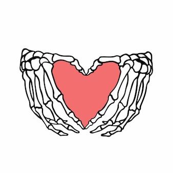 뼈 사랑 상징 로고 문신 디자인 벡터 일러스트 레이 션