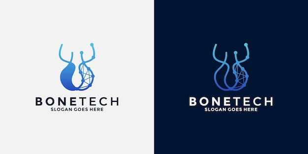 Bone tech logo design for business technology that promotes bone health