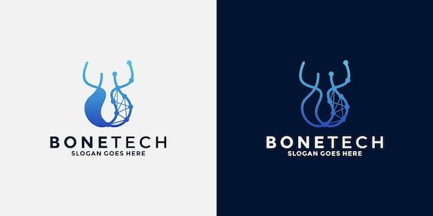 Дизайн логотипа bone tech для бизнес-технологий, способствующих здоровью костей