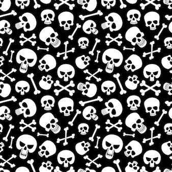 뼈와 두개골 원활한 패턴 배경