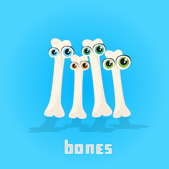 Bones with eyes set cartoon character icon banner