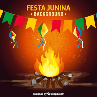 Bonfire background and party decoration junina