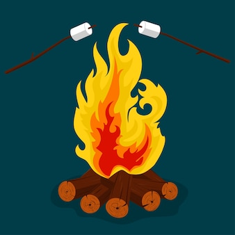 Bonfire cartoon style illustration, camping, burning woodpile, campfire
