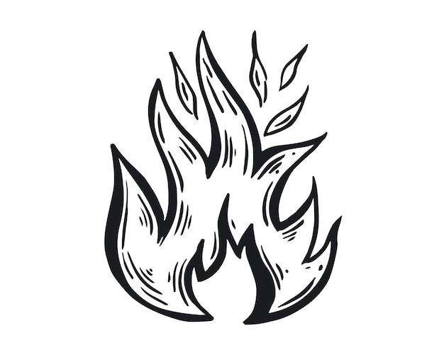 Костер рисованной иллюстрации пламя горит