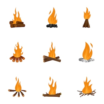 Bonfire icons set, cartoon style