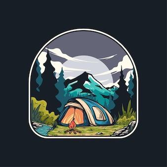 의류 디자인을 위해 캠핑하는 동안 자연 경관이 있는 모닥불 그림